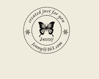 "Custom Logo Stamp ( 1.57"" x1.57"" ) - Custom butterfly Stamp - handmade Stamp - Personalized Rubber  Stamp -vintage flower"