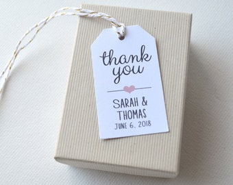 Thank You White Matte Label Tags - Custom Wedding Favor & Gift Tags - Thank you wedding tag