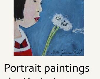 Girl Acrylic Portrait Painting. Original Art. Dandelions Summertime Art. Gift for Friend