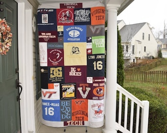 T-Shirt quilt- Made to order using your T- shirts. T shirt Rag quilt,  Memory quilt . Baby clothing quilt