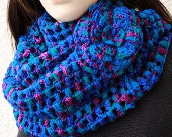 Crochet Scarf PATTERN, Infinity Scarf With Puff Flower Pattern, Circle Scarf, DIY Gift, Instant Download PDF, Pattern #109, Lyubava Crochet