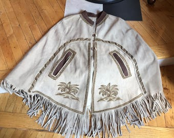 Vintage Southwest Tan Brown Suede Leather Poncho Cape with Suede Leather Fringe Hippie Boho