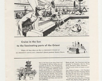 1949 Advertisement American President Line Cruise Ship 40s Mid Century Travel Tourism Cruise Orient Asia Illustration Sketch Wall Art Decor