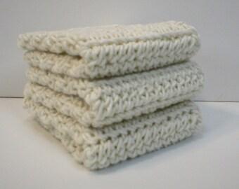 Handmade Crochet Cotton Washcloths or Dishcloths, Set of 3 in Cream Color (Dishcloths6351)