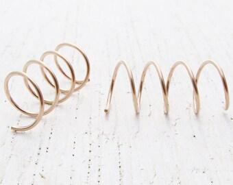 Threader Earrings / Hoops for Four Holes in 14/20 Rose Gold Filled / Pair of Corkscrew Hoops for 4 Side by Side Ear Piercings / 101530
