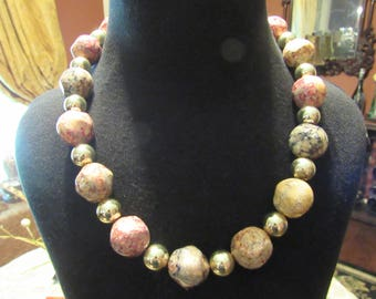 Chunky Acrylic Marbled and Gold Beaded Necklace in hues of pink and tan