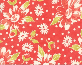 "1 yard 5"" piece/remnant - Coney Island - Blooms in Candy Apple Red: sku 20280-12 cotton quilting fabric by Fig Tree and Co. for Moda Fabrics"