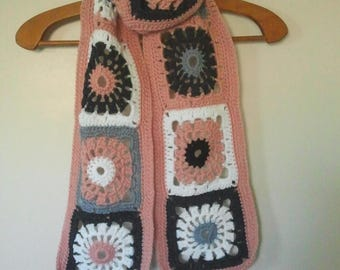 Long granny scarf pink gray and white crochet