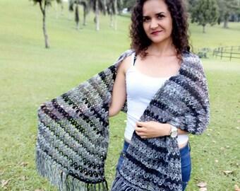 Chal rectangular a crochet - patrón en español