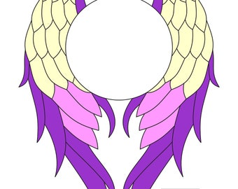 Stained glass pattern wings PDF mosaic design frame circle