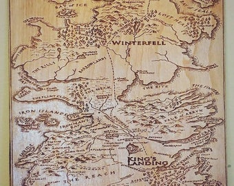 Engraved Map,  Map of Westeros,  Game of Thrones Map.