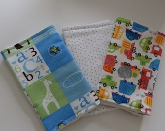 Set of 3 Baby Burp Cloths for Baby Boy