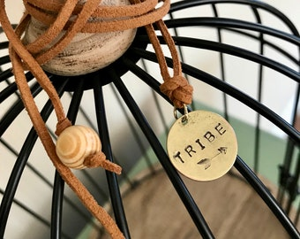 Tribe*Hand Stamped Brass Charm Wrap Bracelet*Choker*Necklace*Tan Leather*Faith*Boho*Gift*Handmade*Gift for Her*Stamped Leather Jewelry*Wood