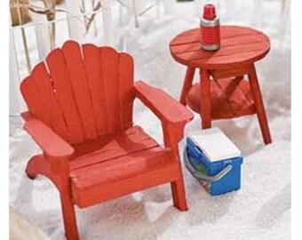 3 PC Red Fairy Garden Beach Chair & Table Set ~ Wood Adirondack Miniature Chairs for Fairies ~ Beach Fairy Garden Supplies and Accessories