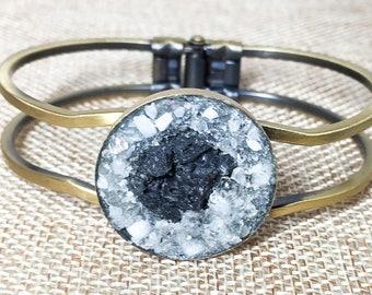 Adjustable Gemstone Glass Lava Rock Essential Oil Diffuser Bracelet Cuff
