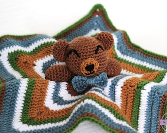 Cuddliest Crochet Bear Lovey PATTERN pdf instant digital download