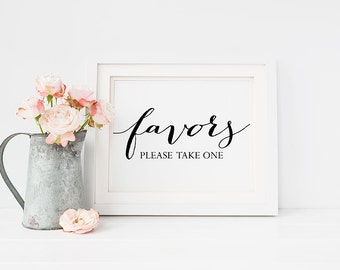 Wedding Sign PRINTABLE 5x7 FAVORS Please Take One Print, Table Signage, Reception sign, Wedding Decor Black and White Typography Download