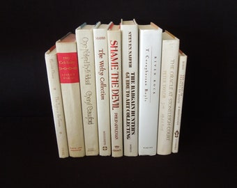 Nine Cream White Ivory Light Beige Books for Decor - Books By Color - Vintage Book Themed Wedding Decor - Home Staging Bookshelf Decor