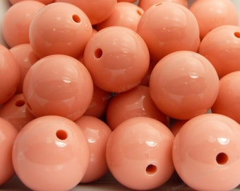 20mm Light Coral Pink Chunky Bubblegum Beads - 10pcs - Candy Color Gumball Beads, Chunky Beads, Round Acrylic Beads - BR1-4