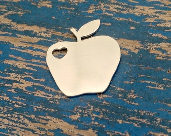 "Aluminum 1 1/2"" Apple with 1/4"" Heart cut out - Aluminum Stamping Blank - Qty 1"