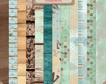 Digital Scrapbooking, Wood and Artsy Paper Pack: You're My Lil' Boy