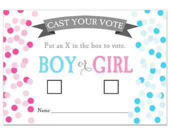 50% OFF SALE - Gender Reveal Voting Cards Printable - Confetti Gender Reveal Collection
