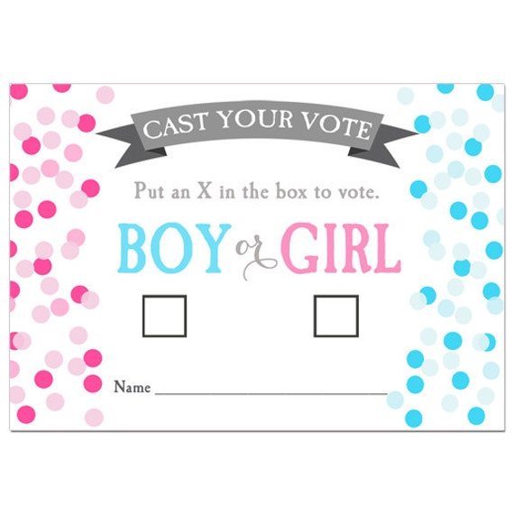 50 Off Sale Gender Reveal Voting Cards Printable Confetti