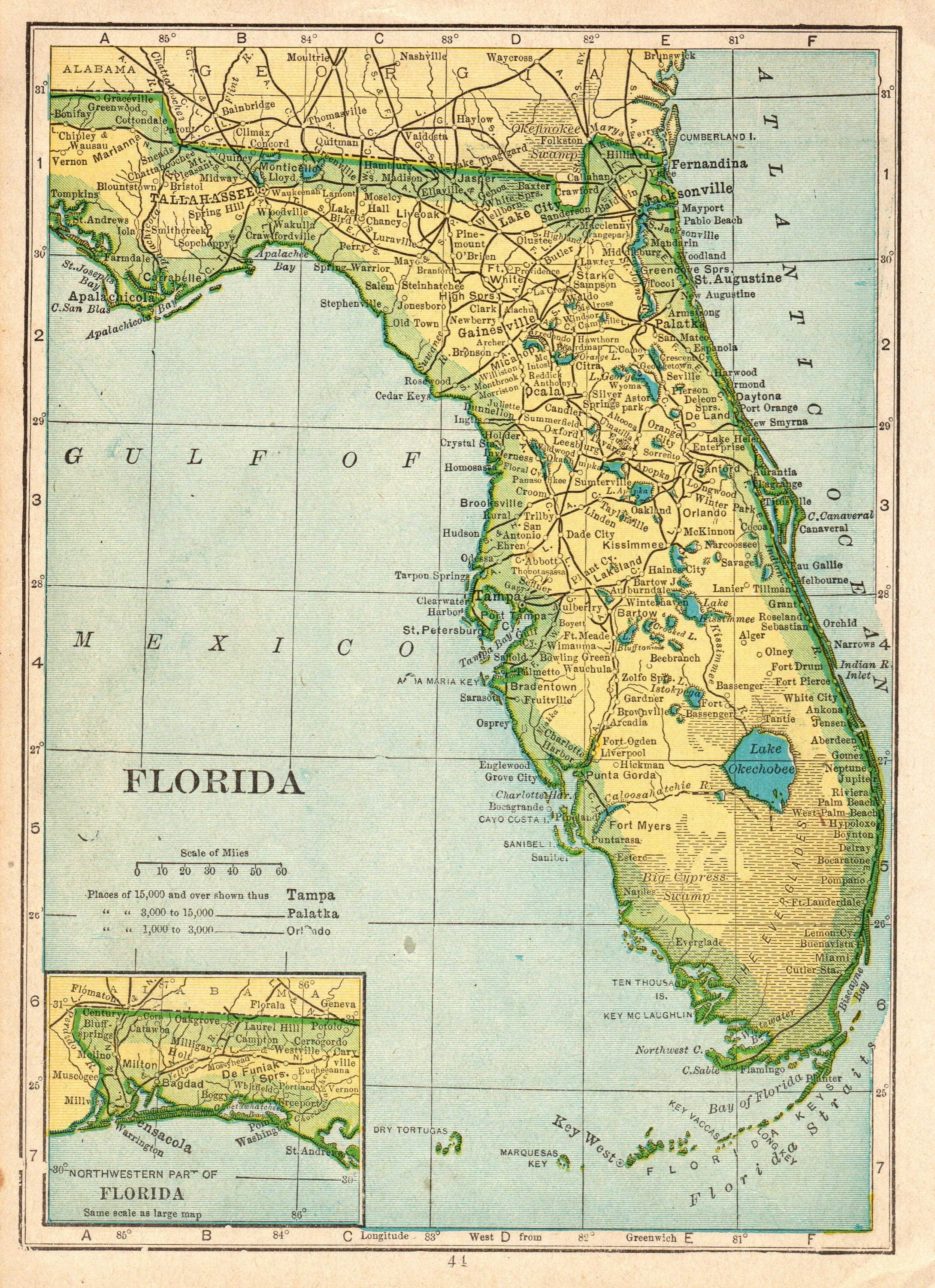 1912 Antique FLORIDA Map Vintage Map of Florida State Map