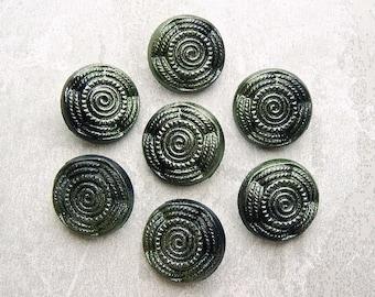 Seaweed Spiral Buttons, 23mm 7/8 inch - Mottled Glistening Green Nautical Swirl Buttons - 7 VTG NOS Ocean Green Spiral Plastic Buttons PL586
