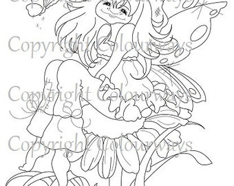 """Instant Download """"Little Daisie"""" ~ Digi Stamp, fairie art, coloring stamp. Light commercial use"""