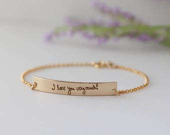 Personalized Signature Bracelet - Sterling Silver, Gold Handwriting Jewelry - Handwritten Bracelet for women - mom valentine gift