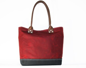 tote bag - heavy waxed canvas everyday tote - made in USA - 010065