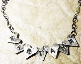 Fine silver heart banner name necklace with aquamarines