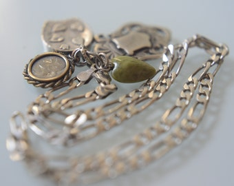 Antique Victorian silver charm fobs chain necklace, sterling silver, England