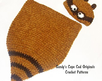 Raccoon Cocoon and Beanie Crochet Pattern PDF ONLY 326