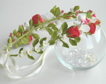 rose wreath, bridal shower, flower headband, bride wreath, plumeria wreath, rustic style, forget-me-not wreath, myosotis wreath
