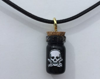 """Mini Bottle Necklace Filled with """"Poison"""""""