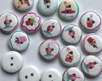 15mm X 15 Round 2 Hole Wood Painted Cupcake Buttons Destash Lot