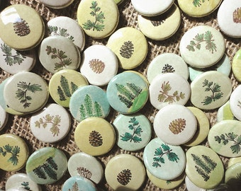 Rustic Wedding Favors -evergreen, evertrue -100 Handmade 1 Inch Pinback Buttons