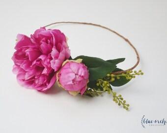 Peony Crown, Hot Pink Peony Crown, Flower Crown, Silk Peony Crown, Silk Flower Crown, Floral Crown, Flower Headpiece, Pink Peony Crown, Boho