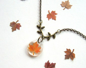 Petite Maple Leaf and Branches - Real Autumn Leaf Necklace - Pressed leaf, maple, Autumn, woodland, earthy, rustic, minimal, ooak, gift
