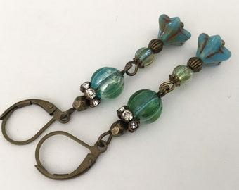 Vintage style antiqued green earrings melon beaded brass earrings