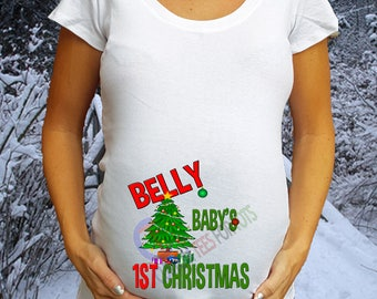 BELLY BABY'S 1st Christmas Maternity Shirt  - Pregnancy Christmas Shirt - Christmas Announcement Shirt - Christmas Pregnancy shirt