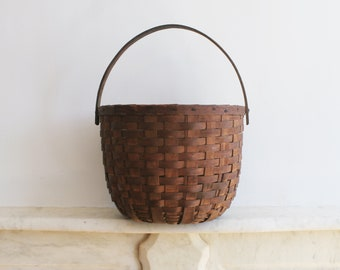 Antique Swing Handle Basket, Large Splint Hand Woven Basket, Gathering, Primitive, Rustic