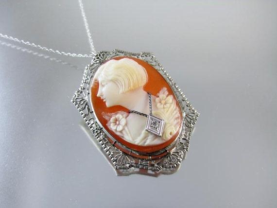 Vintage Art Deco 10k white gold filigree Flapper girl bobbed hair diamond habille cameo brooch pin pendant necklace roaring 20s