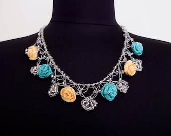 Bip necklace,Crochet bead work necklace,in yellow and aqua ,silver