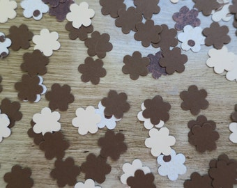 Neutral Flower 100 Count Confetti brown ivory party table decor large confetti