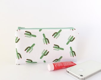 Cactus zipper pouch, Pencil case, Small pouch, Small purse, Women, Cactus wallet, School supplies bag, Best friend gift, Desert, Succulents