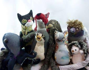 Custom stuffed animal handmade to order: cat, otter, sloth, owl + more!