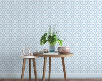 Blue abstract removable wallpaper / cute self adhesive wallpaper / blue and white wall mural G125-13